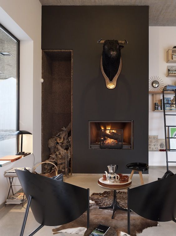 VILLA EXTRAMUROS | vora arquitectura - very masculine space, charcoal and animal skins