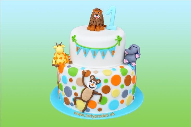Torta safari s levom žirafou slonom opicou, na 1 rok. Cake safari