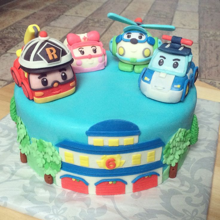Robocar Poli cake with Poli, Roy, Helly and Amber