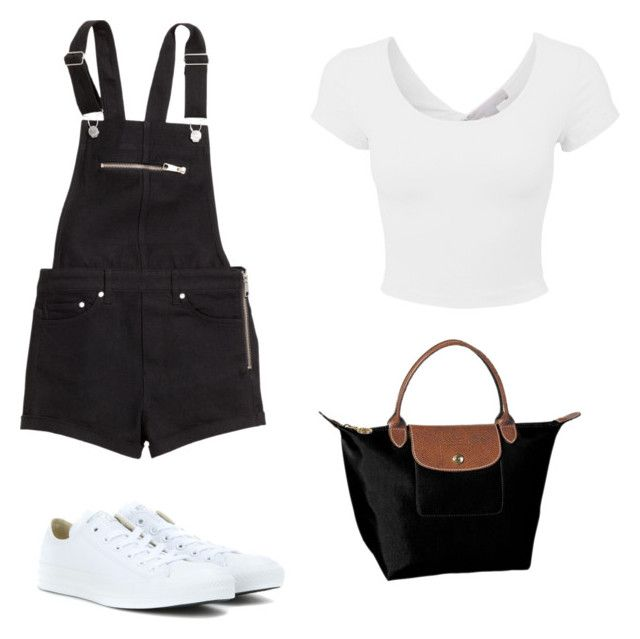 """Take it easy"" by sch-csilla on Polyvore featuring H&M, Converse, Longchamp, converse and blackandwhite"