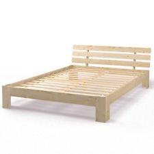 Lit double en bois massif 160x200 cm Cadre robuste avec sommier à lattes legno