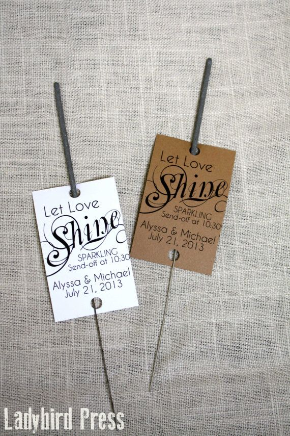 Sparkler Tags - Personalized Printable Wedding Favor Sparkler Tags - PDF - DIY - Shine on Etsy, £5.23