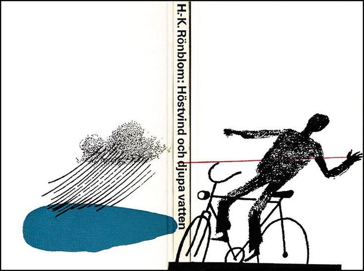 """Omslag: Rolf Lagerson  Årtal: 1966  Förlag: Norstedt & Söners Förlag  Övrigt: """"Höstvind och djupa vatten"""" har blivit framröstad som en av de 50 bästa kriminalböckerna genom tiderna"""