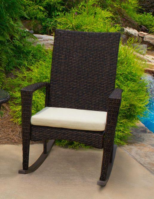 Outdoor Rocking Chair Backyard Patio Garden Wicker Furniture Tortuga