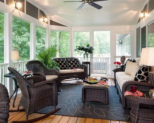 Black Wicker Furniture In Modern Porch