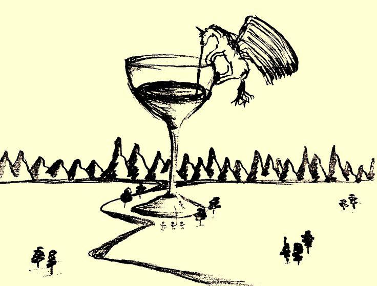 when bored in french class. Einhorn auf einem Weinglas. Es hat KEINE tiefere Bedeutung ;)
