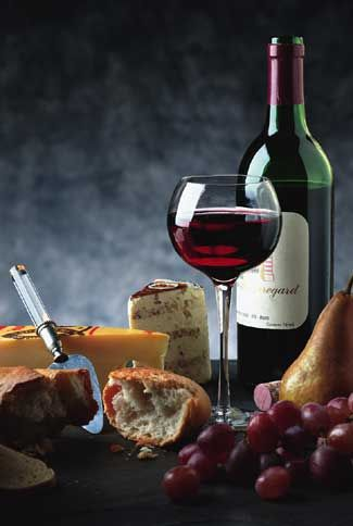 red, red, wine, bread and cheese