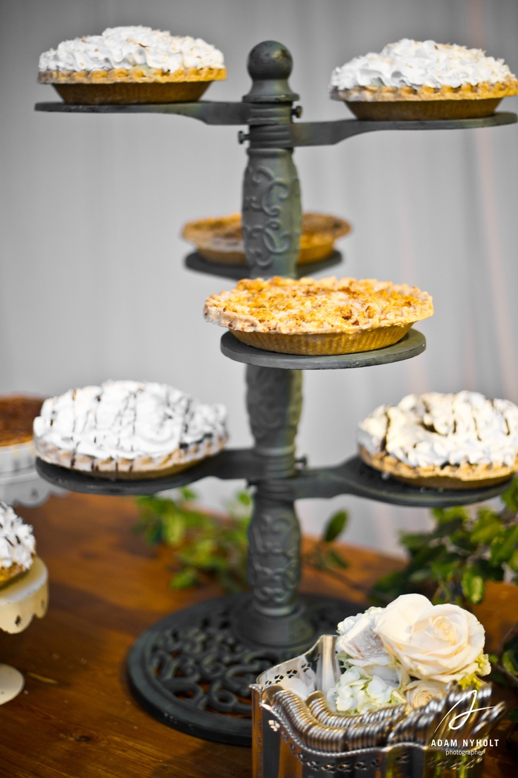A pie table for the grooms' cake. Photography by Adam Nyholt, Photographer.