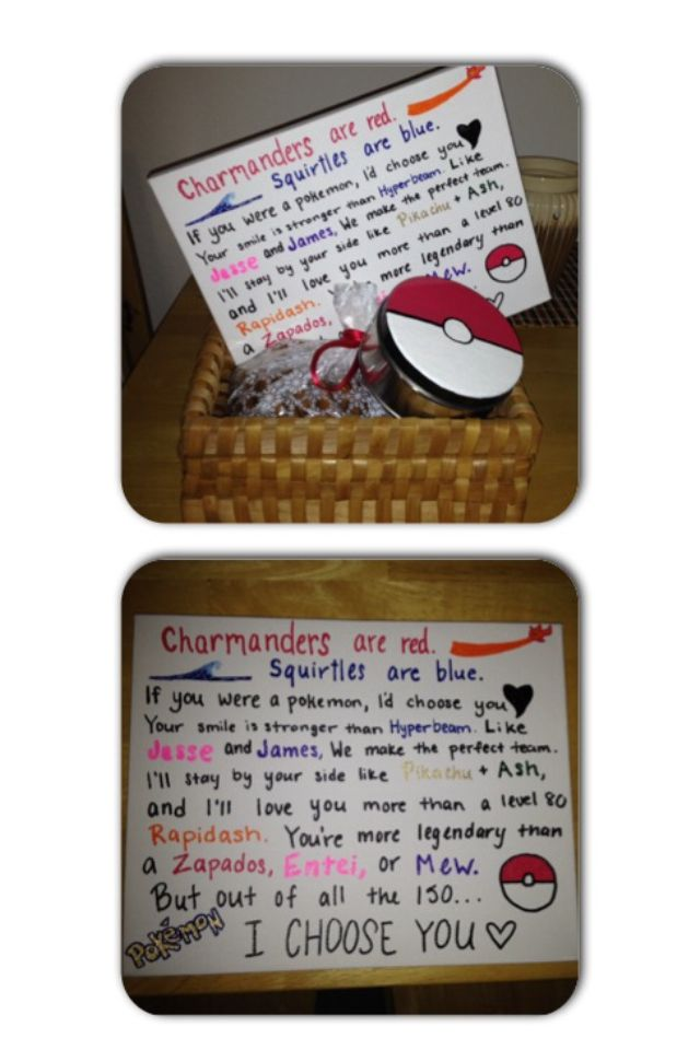 Valentine's Day gift for my boyfriend! Way to my man's heart? Cookies and Pokemon. Haha More