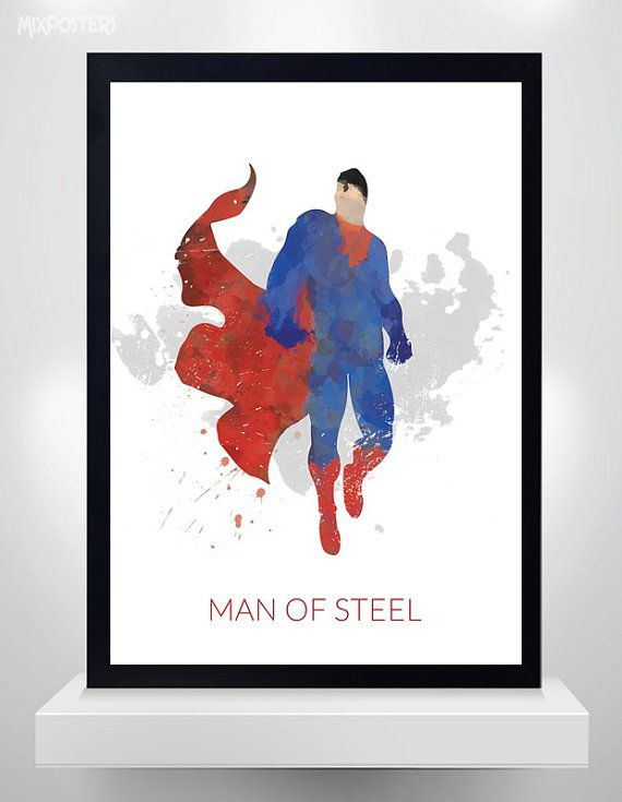Superman poster Watercolor Print Superhero Poster от MixPosters