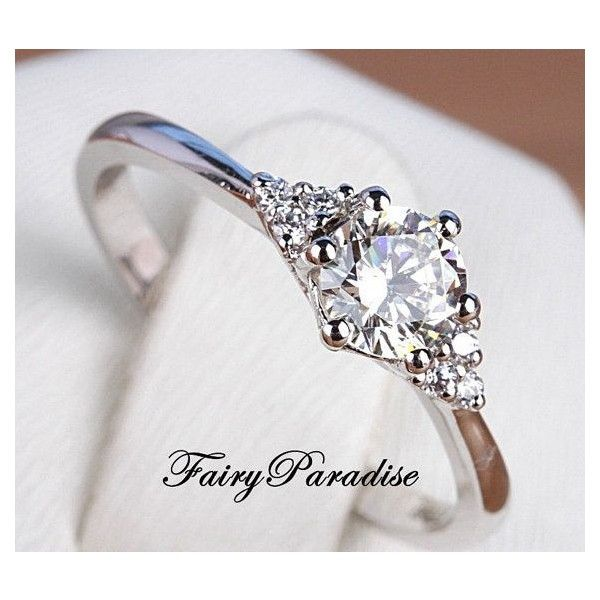 Simple 1 Ct Engagement Anniversary Promise Ring, Round Cut Lab Made... ❤ liked on Polyvore featuring jewelry, rings, imitation diamond rings, silver jewelry, engagement rings, fake engagement rings and silver engagement rings
