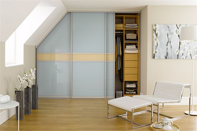 Sliderobes fitted sliding door wardrobes in blue and cream glass : sliderobes doors - Pezcame.Com