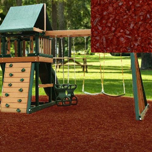 Red rubber mulch, alternative to cedar wood mulch that attracts bugs.  Costs more but lasts longer