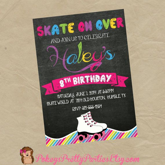 Roller Skating Birthday Party Invitation  by PokeysPrettyParties, $5.00 GIRLS CHALKBOARD RAINBOW INVITE