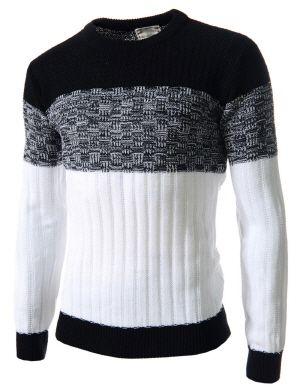 (FFT23-BLACK) Mens Slim Fit Color Block Crew Neck Knit Long Sleeve Tshirts