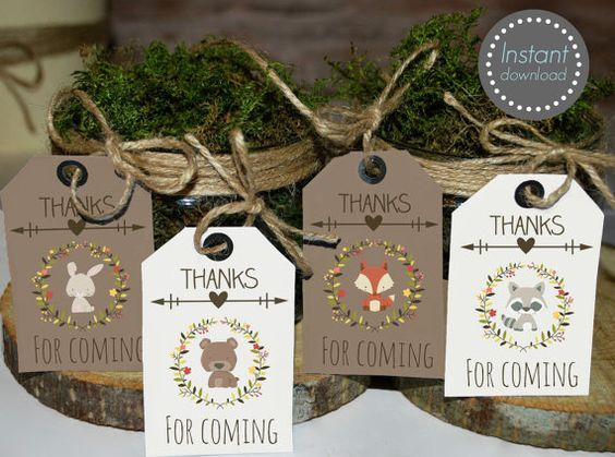 These adorable Woodland Thank you tags are perfect for Woodland theme party! * SAVE OVER 50% with the matching baby shower MEGA SET: Baby GIRL set https://www.etsy.com/listing/264165267 Baby BOY set https://www.etsy.com/listing/264264976 Baby NEUTRAL set https://www.etsy.com/listing/264166907 ►This is a digital INSTANT DOWNLOAD listing • YOU WILL RECEIVE 4 design Thank you tags A 8.5 x 11 PDF file that contains 8 tags size 3.5 x 2. ►This is for the Thank you tags only. The other pictures ...