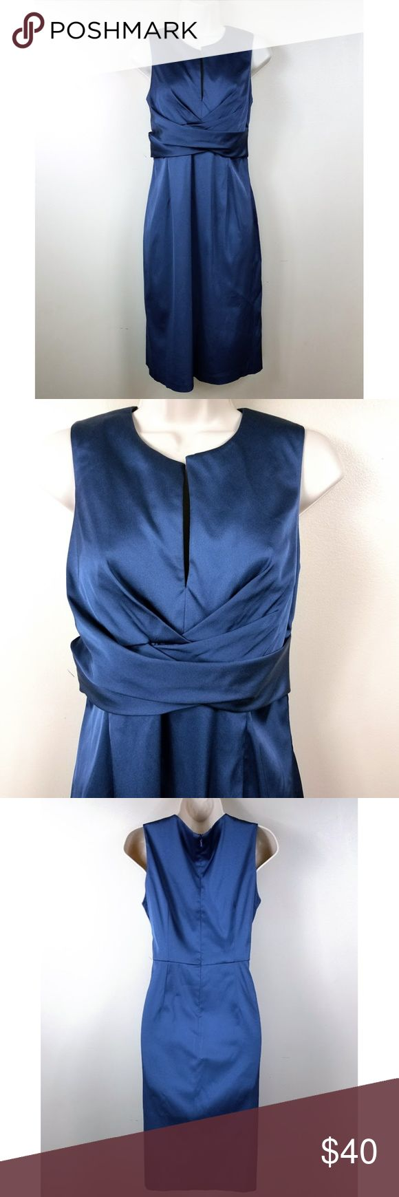 """Donna Ricco NY Sleeveless Satin Dress Donna Rico New York Size 8 Satin Dress in Blue Beautiful formal wear.  Closure: Invisible zipper at back w hook and eye clasp With spandex for comfort and stretch Fully lined (lining is attached)  Flat measurements (approx.): Shoulder to shoulder: 13 1/2"""" Bust (armpit to armpit): 16"""" Waist: 14 1/2"""" Hips (24"""" from shoulder):  19"""" Width at hem: 19 3/4"""" Length: 38 3/4""""  Good used condition. No tears, stains. From a pet-free, smoke-free home. Donna Ricco…"""