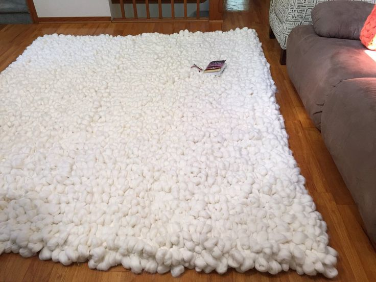 Merino Wool Rug Chunky Knit Area Thick Carpet By Becozi