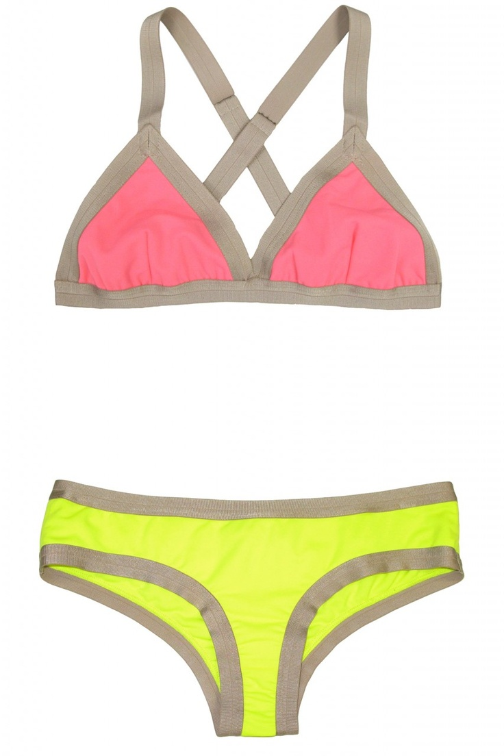 Perfect little neon bikini for surfing the waves with confidence and no peek-a-boos.