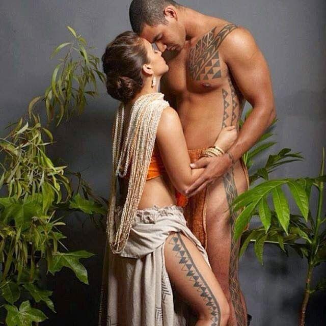 Nude male hula dancer