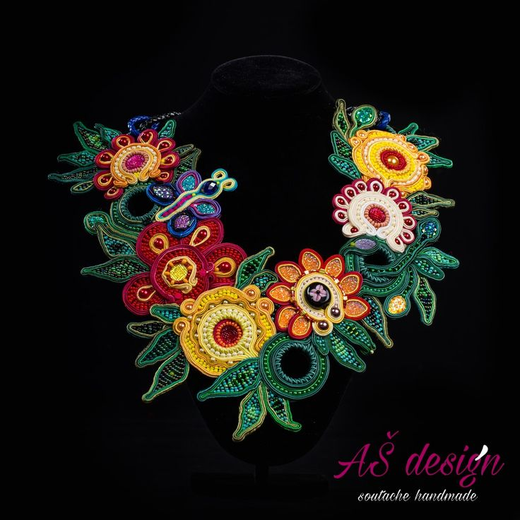 AŠ design Soutache Jewellery 2016 Spring - soutache necklace with flowers