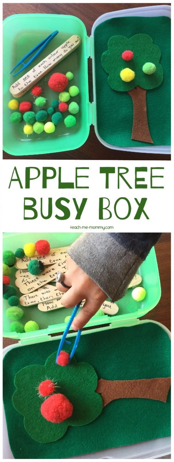 Apple Tree Busy Box, follow written and/or verbal instructions, work on fine motor skills, counting and visual perception!