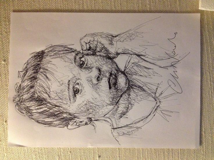 Ginevra - black pen drawing by Chiara Nardo