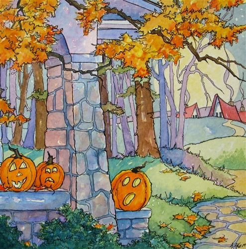 """The Pumpkin Porch Storybook Cottage Halloween"" - Original Fine Art for Sale - © Alida Akers"