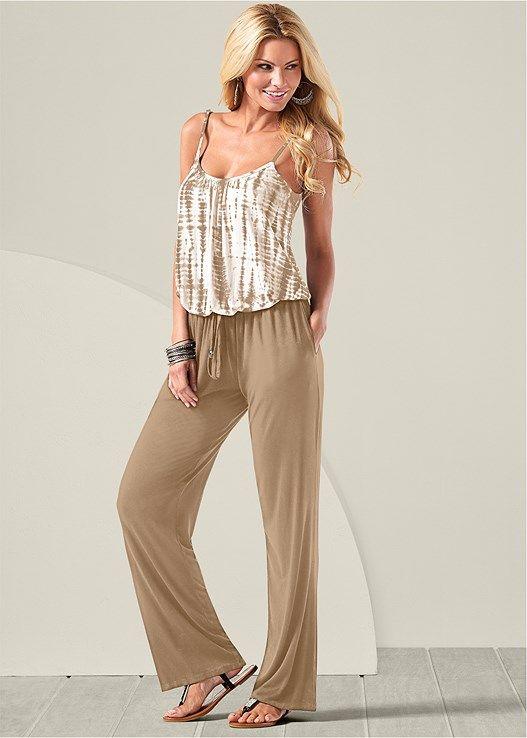 Venus Women's Tie Dye Blouson Jumpsuit Jumpsuits & Rompers - Brown/neutral/white, Size L