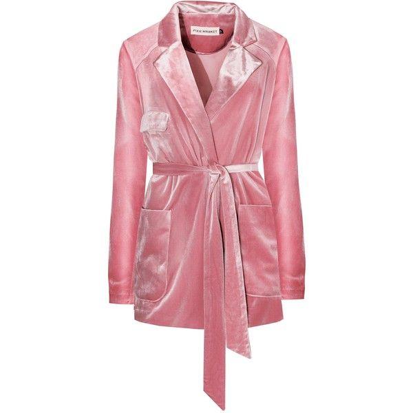 Pink Velvet Robe Blazer (1.040 HRK) via Polyvore featuring outerwear, jackets, blazers, blazer jacket, pink blazer jacket, red blazer, velvet jacket and pink blazer