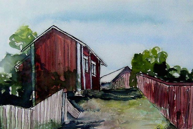 """Brunströmsgatan"", street in Kristinestad. Original watercolor and ink painting by britta bergström-Jungell."