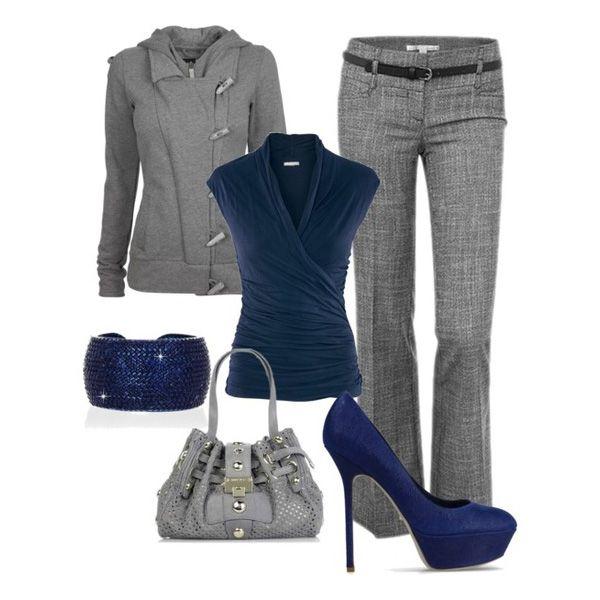 С чем носить синие туфли: темно-синие туфли и серый костюм