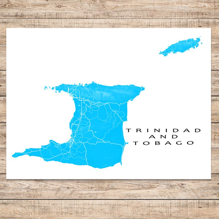 Trinidad and Tobago map art print in cyan blue from www.mapsasart.com