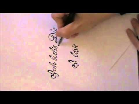 Write cursive fancy letters ♥ I love you ♥ (for beginners) :)