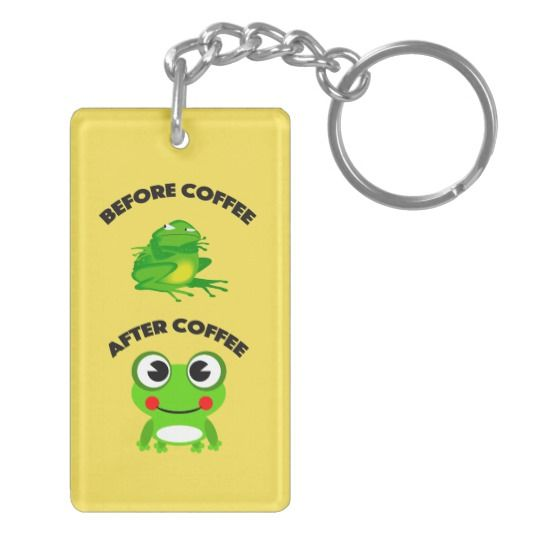 Before coffee After coffee frog design Keychain