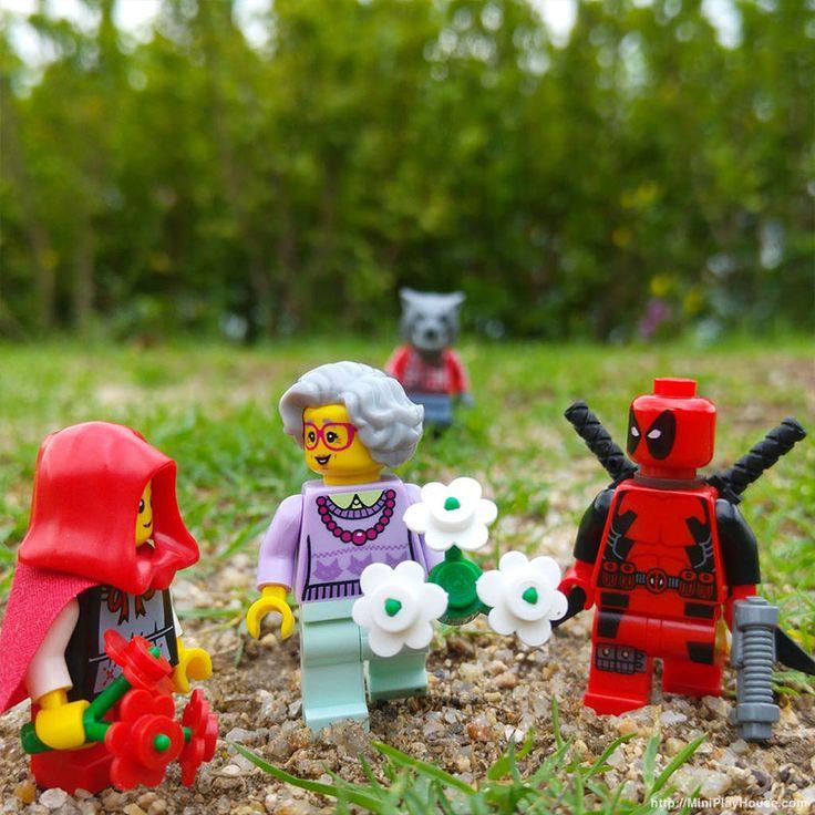 Grandma likes red. (http://MiniPlayHouse.com)#lego #minifigures #deadpool #grandma #grandmavistor #littleredridinghood #wolf #marvel #superhero #cosplay #toy #photography