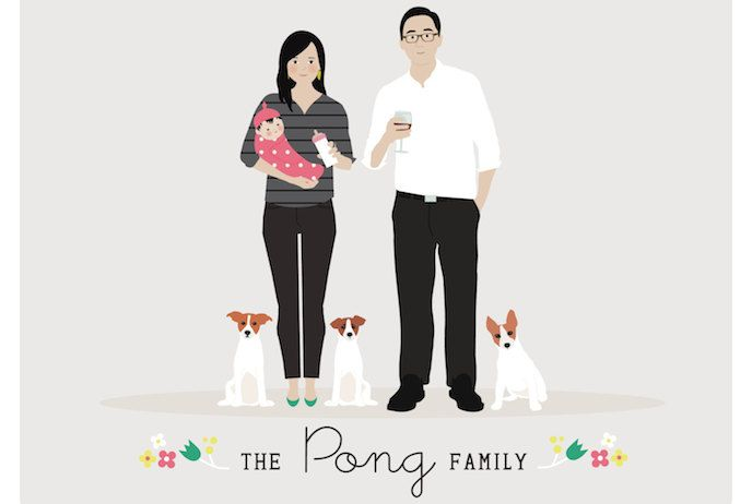 10 fantastic artists + illustrators doing cool things with custom family portraits