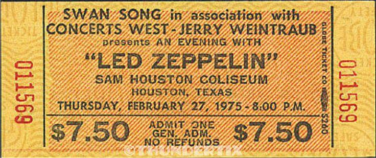 1  LED ZEPPELIN VINTAGE UNUSED FULL CONCERT TICKET 1975 Houston, Texas Laminated