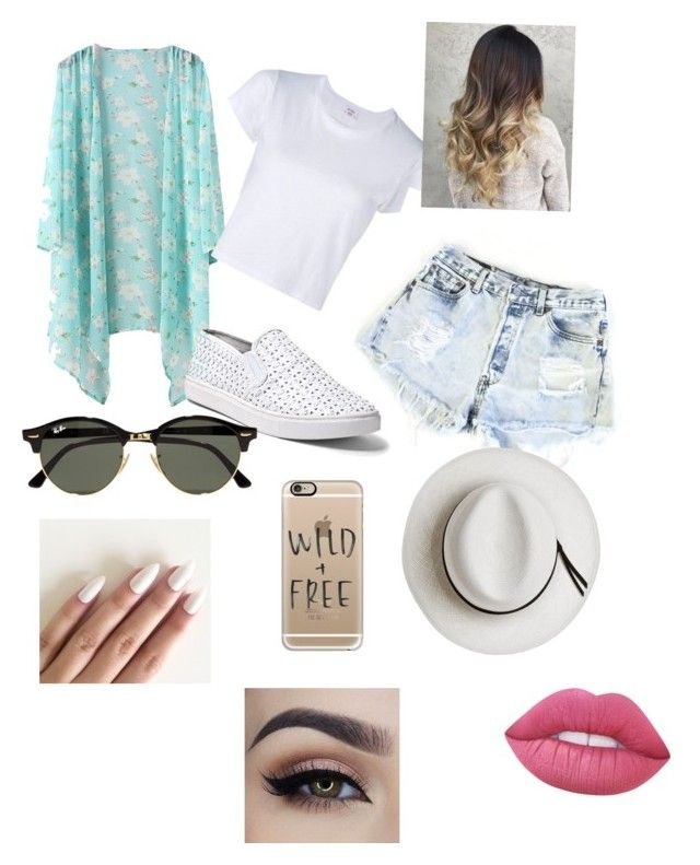 """""""Beach"""" by jessfry10 on Polyvore featuring RE/DONE, Levi's, Steve Madden, Calypso Private Label, Ray-Ban, Casetify and Lime Crime"""