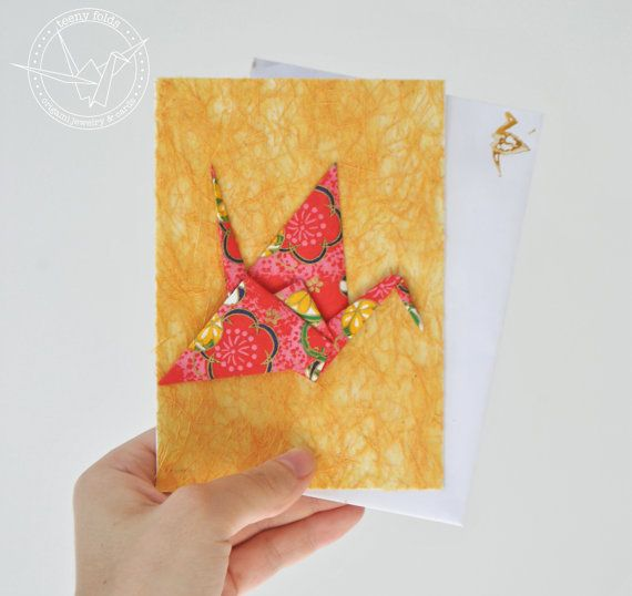 Introducing new origami greeting cards at the Teeny Folds shop on Etsy. These handmade cards are blank on the inside, making it perfect for any greeting, any occasion. This beautiful card is a red, yellow and pink peace crane on rich yellow card. #etsy #origami #crane #stationery #handmade #cards