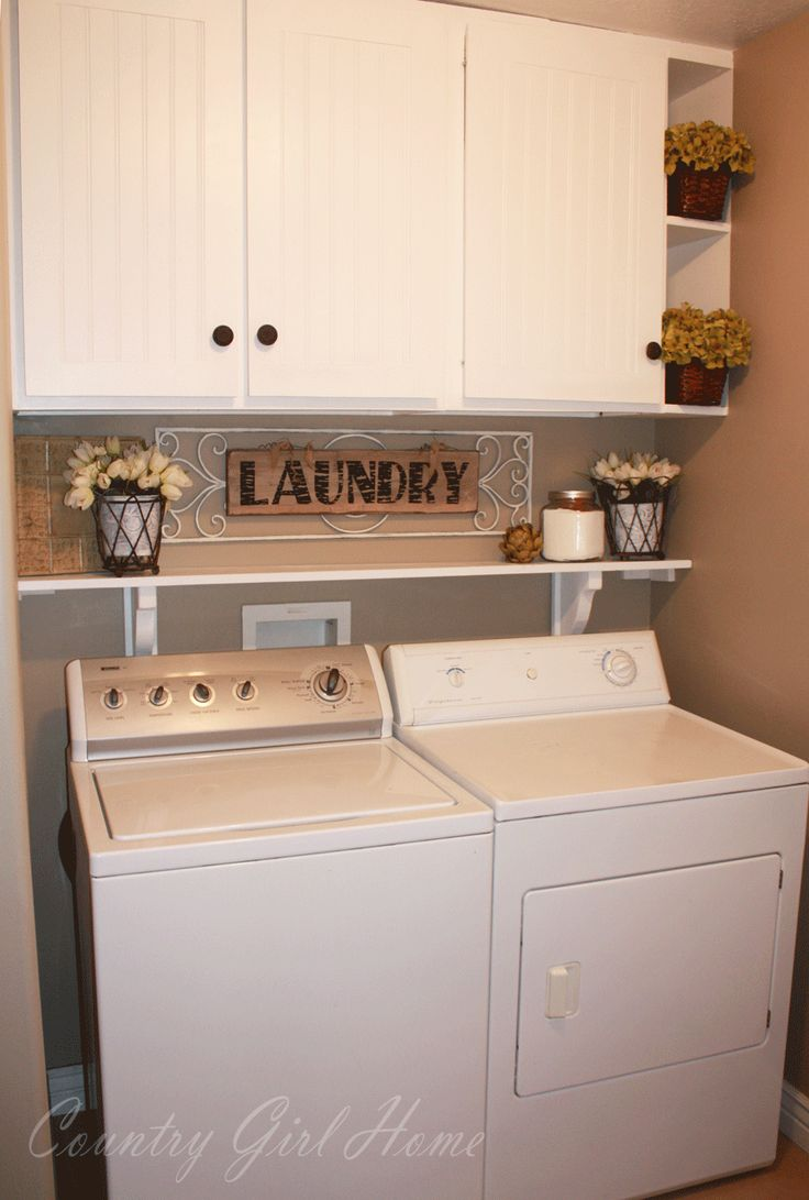 Small Laundry Room Idea In Taupe And White With A Shelf Over The Washer Dryer Home Decor Ideas Interior Design Tips