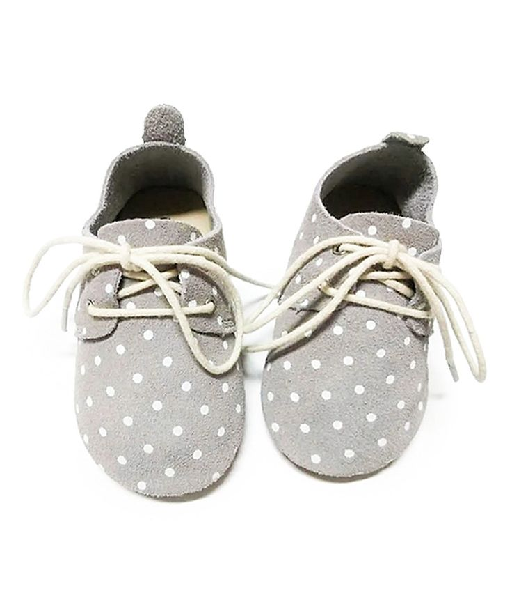Loving this Honeysuckle Shoes Dove Gray Polka Dot Oxford Sneakers on #zulily! #zulilyfinds