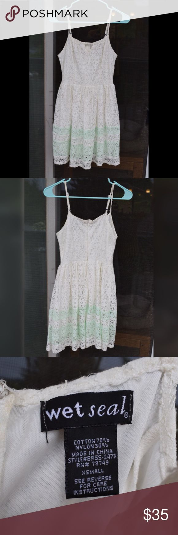 👗👒🌸Adorable lace & white mint dress Lace white dress with mint colored stripes. Comfortable and cute Wet Seal Dresses