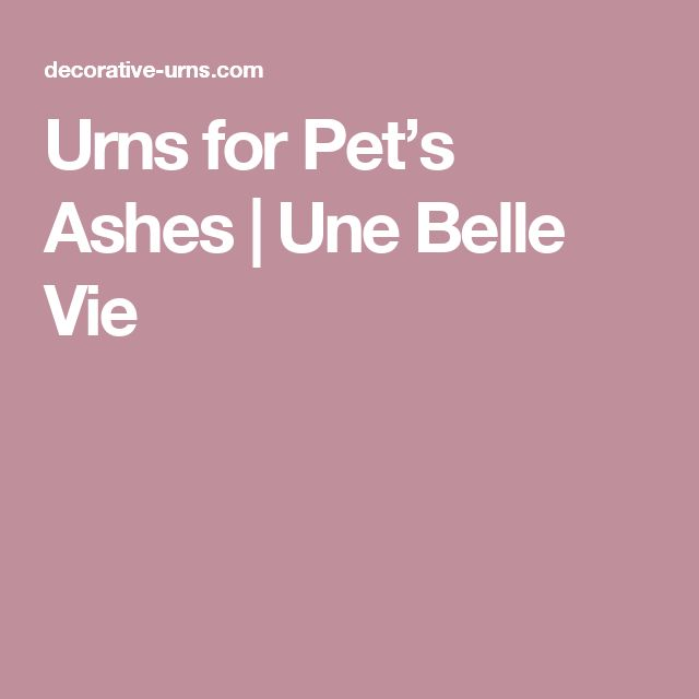 Urns for Pet's Ashes   Une Belle Vie