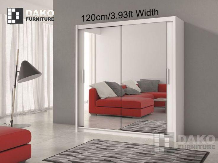 Modern Bedroom Mirror Sliding Door Wardrobe PARIS White/Black 3.9ft /120cm in Home, Furniture & DIY, Furniture, Wardrobes | eBay!