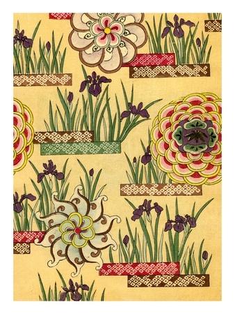 Illustration of Lotus and Iris Blossoms Gicleetryck