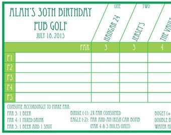 Pub Golf Scorecard Printable by MayaPenelope on Etsy