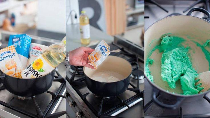 HJEMMELAGET MODELLEIRE: Sitronsyre gjør susen i denne oppskriften. Husk at de voksne lager deigen, og barna leker med den.