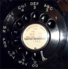 Typical telephone dial from the 60's and 70's, with the letters shown (ABC = 2 etc): these were used in the earliest days of the UK telephone system.