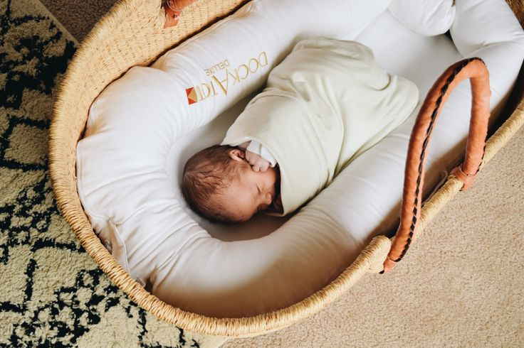 Baby in a Dock-A-Tot, Plum + Sparrow Moses Basket